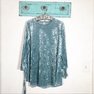 Tops - MTS blue velvet long shirt